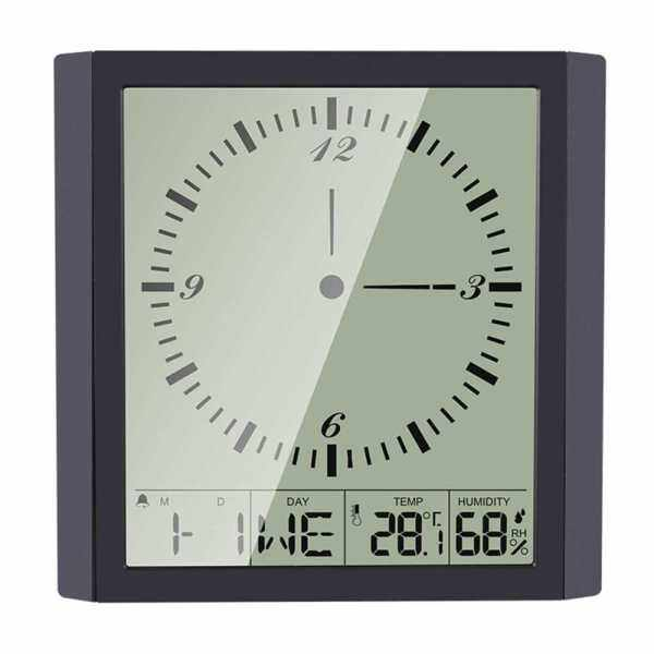 KKmoon Digital Multifunctional Thermo-Hygrometer Thermometer & Hygrometer & Square Clock Minimalist Wall Clock with Calendar Alarm and Snooze Indoor Temperature Humidity Indicator (Standard)
