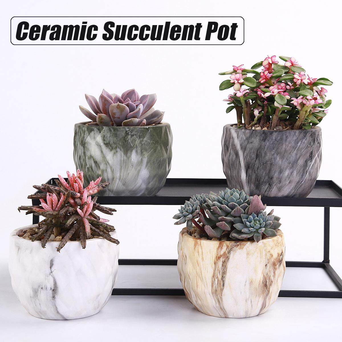 4pcs/set Ceramic Succulent Plant Pot Cactus Holder Stand Nordic Style 8.3x6.5cm (3.2x2.5)