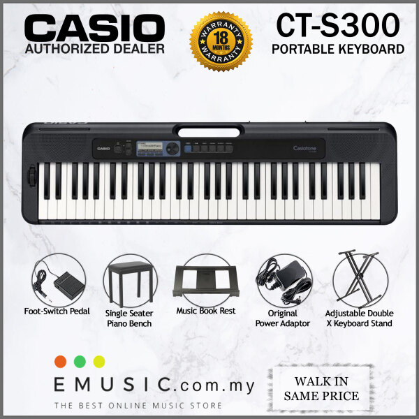 Casio CT-S300 61-key Portable Keyboard with Bench & Pedal (Casiotone / CTS300) Malaysia