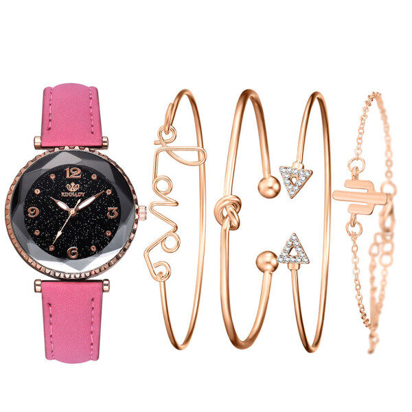 Womens Quartz Leather Band Strap Watch Analog Wrist Bracelet bracelet Watch Set Malaysia