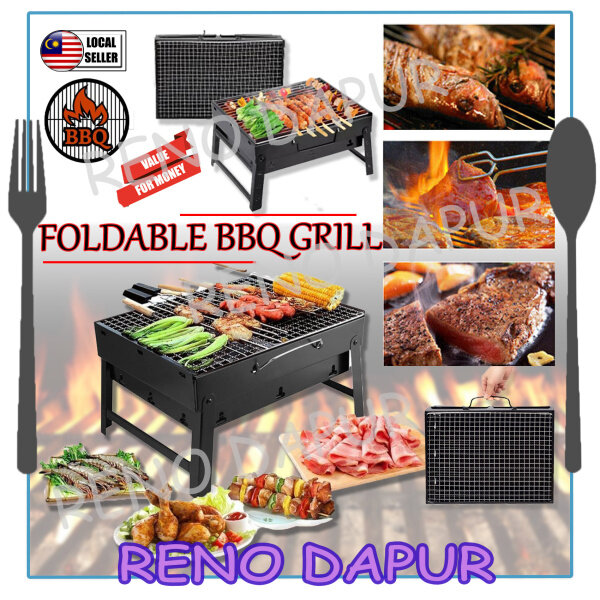 [RENODAPUR] Portable Folding BBQ Grill Charcoal Barbecue for Camping Picnic