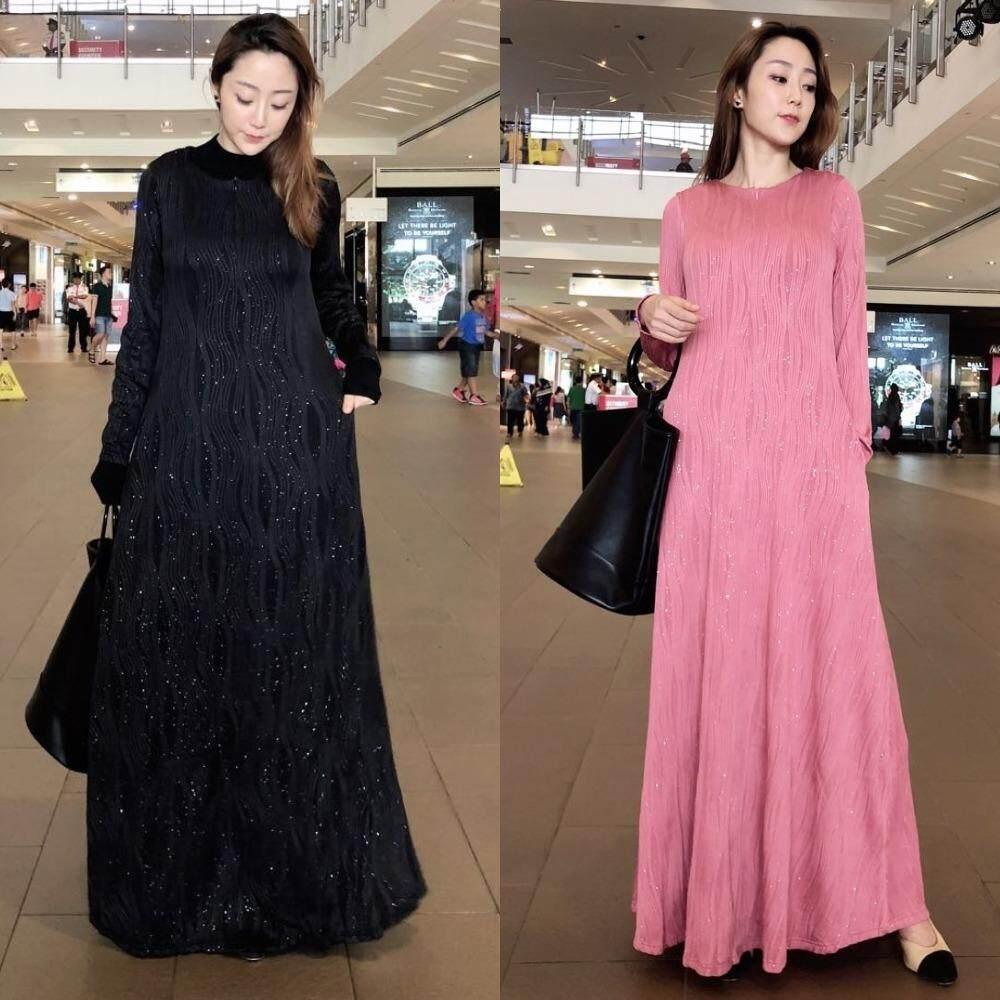 Cassafashion Muslimah Moden Juwani Glitter Textured Cotton Jubah Dress Plus Size