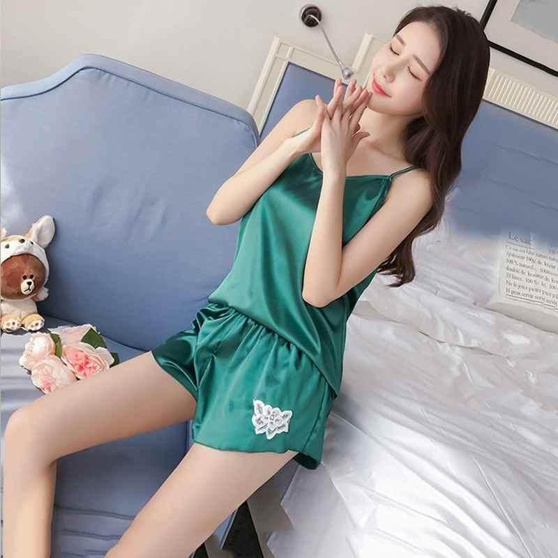 62087ee1c Stay Woman Pajama Set Silk Satin V Neck Nightwear Shorts Sexy Sling  Sleepwear Sleeveless Homewear Sleep