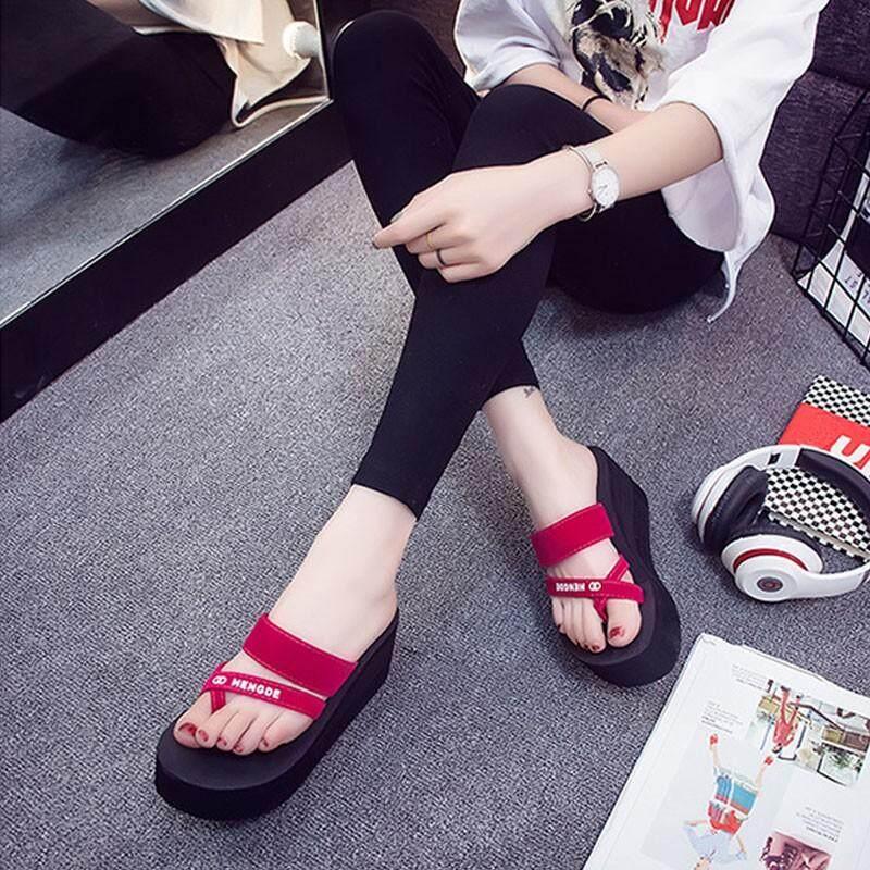 5a3251ef59 New Summer Women Wedge Platform Flip Flops Slippers Soft Sole High Heel  Seaside Beach Sandals Non Slip Casual Sandal