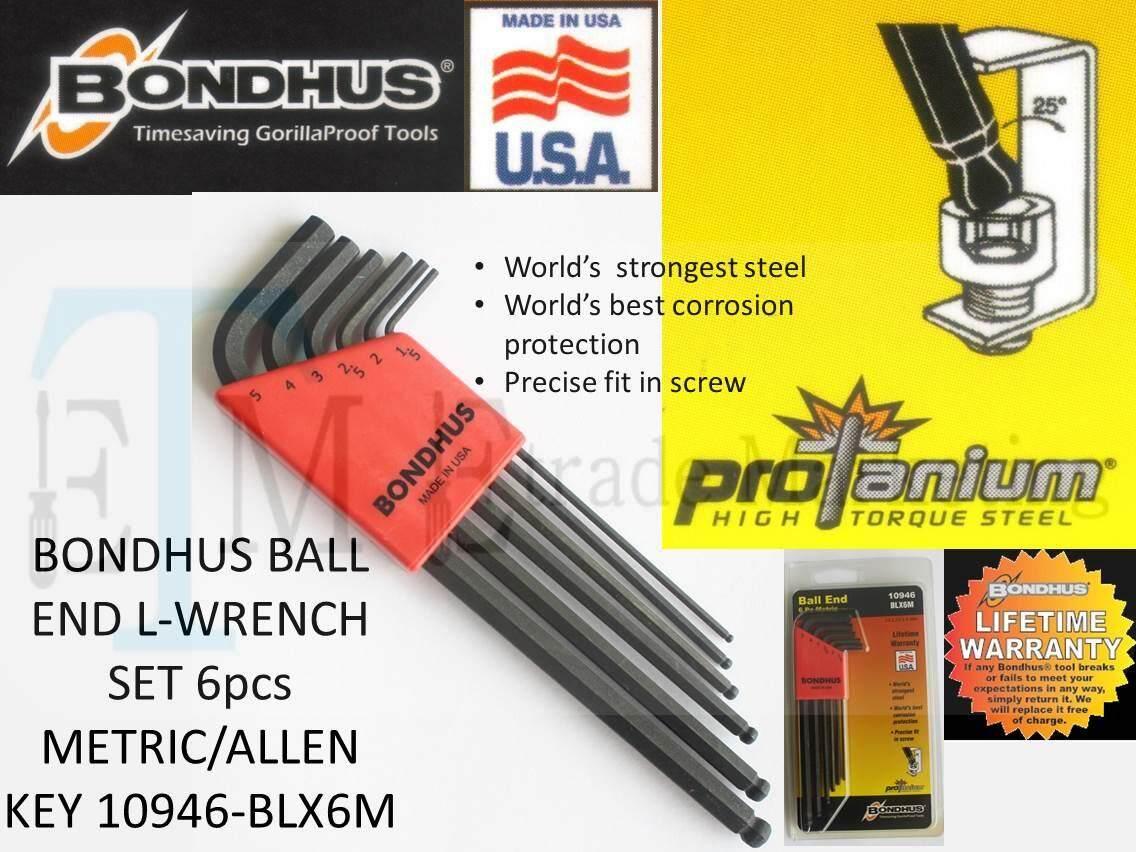 BONDHUS BALL END L-WRENCH SET 6pcs METRIC/ALLEN KEY SET 10946-BLX6M (MADE IN USA)
