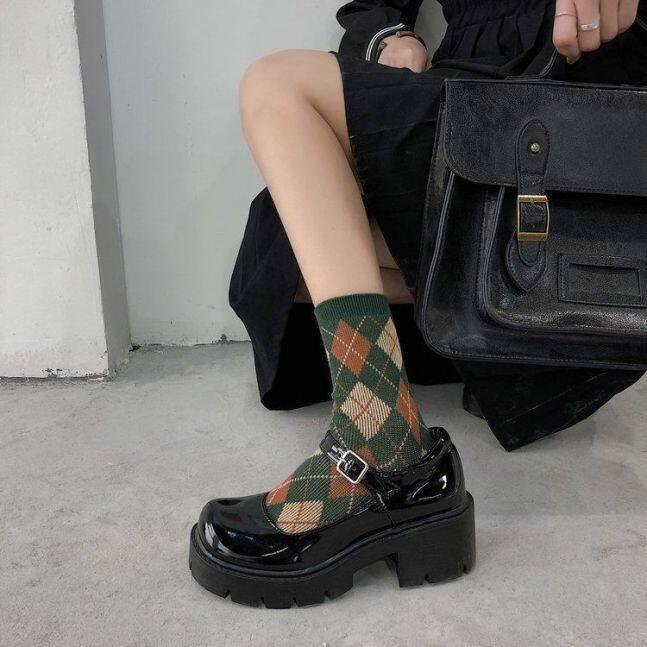 Giày Nữ Mary Jane Nhật Bản, Giày Da Xốp Lolita Đế Dày JK2021 Mới, Gót Dày Hoài Cổ giá rẻ