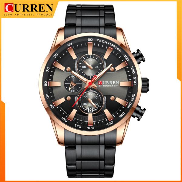 CURREN Men Fashion Quartz Sports Wristwatch Chronograph Clock Date Watches Stainless Steel Male Watch 8351 Malaysia