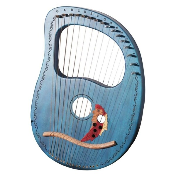 Lyre Harp 16 String Harp Heptachord Solid Wood Lye Harp with Tuning Wrench Gift for Music Lovers Beginners