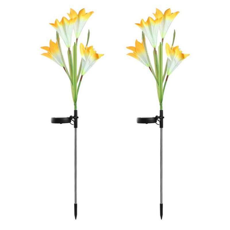 Per 2 Cái Vườn Năng Lượng Mặt Trời Đèn Trụ Hoa Lily LED Đèn Năng Lượng Mặt Trời Đèn Năng Lượng Mặt Trời Nhiều Màu Cho Sân Vườn Ngoài Trời Trang Trí Hiên Sân Sau
