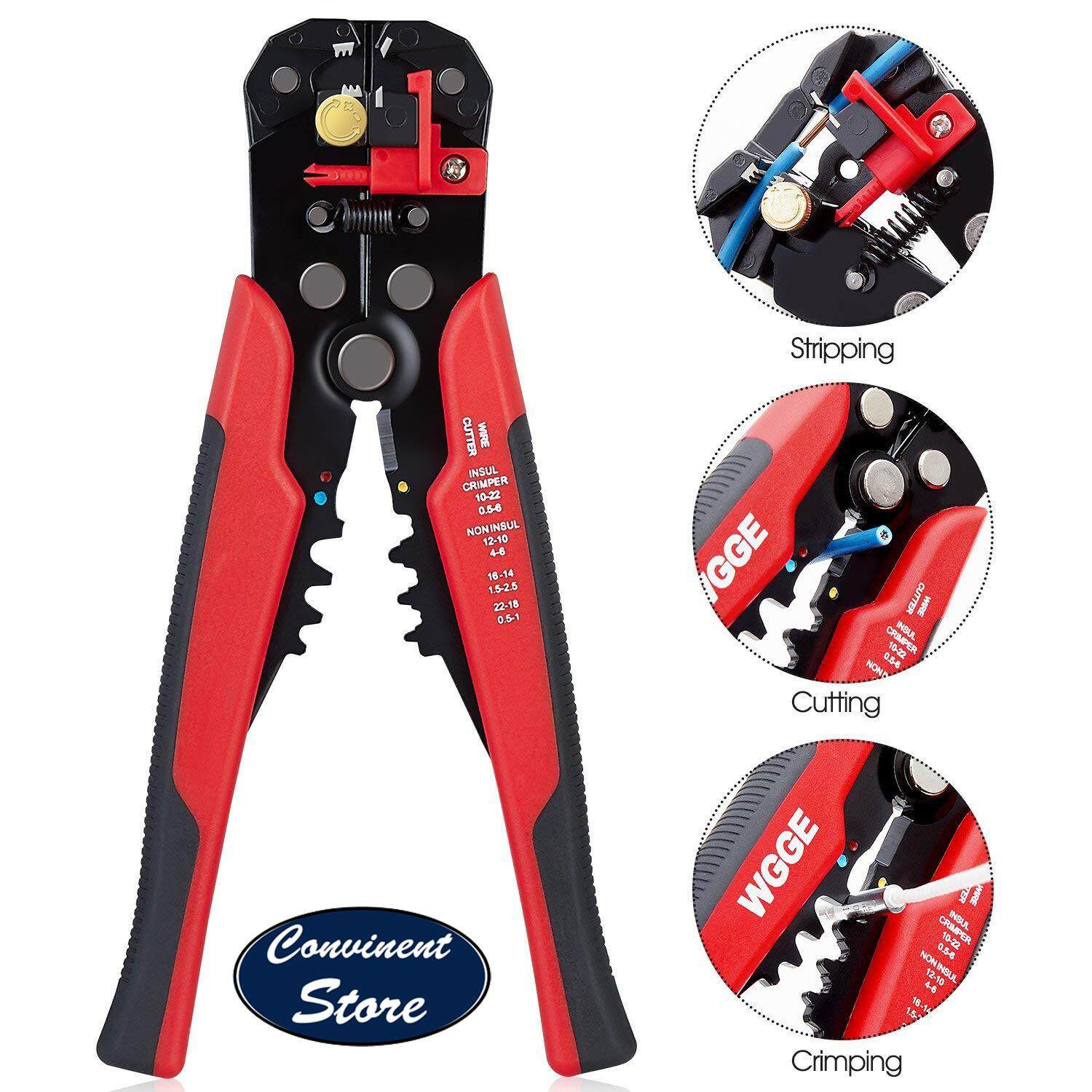 ✅WG-014 Self-Adjusting Insulation Wire Stripper. For stripping wire from AWG 10-24, Automatic Wire Stripping Tool/Cutting Pliers Tool, Automatic Strippers with Cutters & Crimper 8 - By Convinent Store