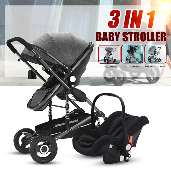 3 in 1 Baby Stroller Foldable High view Landscape Stroller Folding Baby Carriage Car Seat Singapore