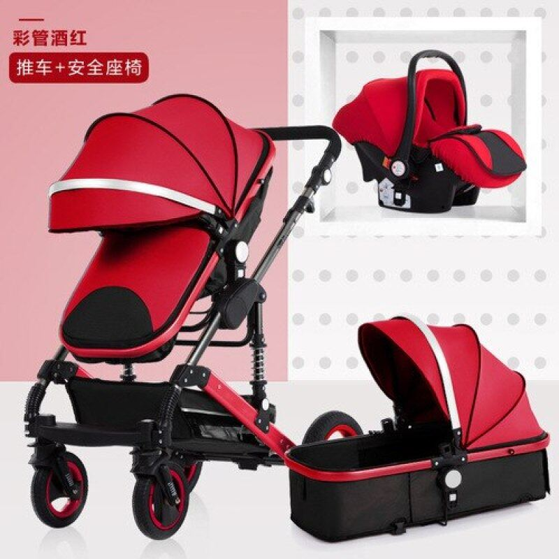 3 In 1 Newborn Highland Scape Baby Stroller Can Sit and Lie Two-way Shock Folding Baby Stroller Baby Carriage Sleeping Basket Singapore