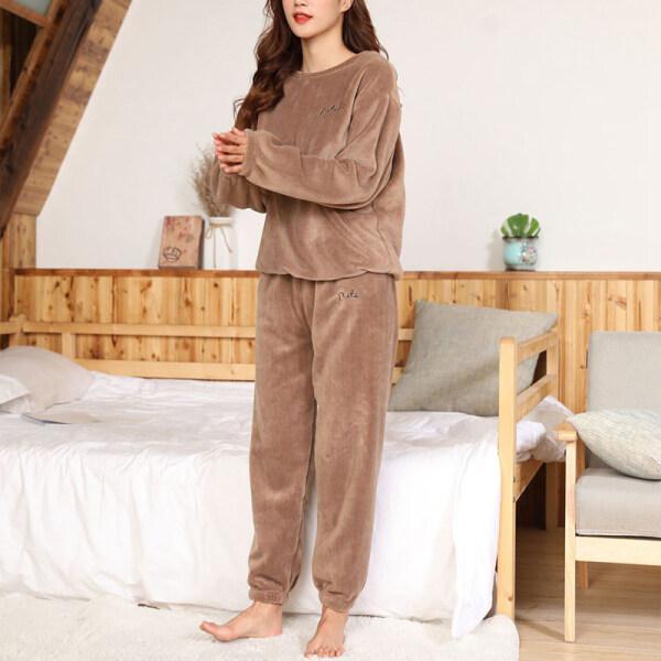Bộ Đồ Ngủ Nhung Flannel Cho Nữ Mùa Đông Ngủ Áo Ngủ Dày Rộng Mềm Mại Thường Ngày Ấm Áp Trang Phục Mặc Nhà Bộ Đồ Nữ Pijama