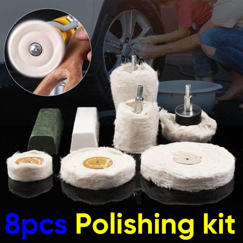 8x Polishing Kit Dome Goblet Cylinder Mop Buffing Wheel Compound Metal Plastic