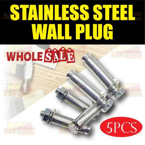 5pcs Stainless Steel Hex Nut Sleeve Wall Plugs Expansion Sleeve Anchor