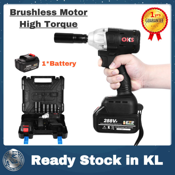 【Ready Stock in KL】Smith 288Vf Electric Impact Wrench Sets Brushless High Torque Impact Wrench with 2 Batteries 1 Year Warranty