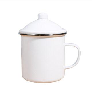 Nostalgic enamel mug thickened large capacity retro iron tea mug with lid thumbnail