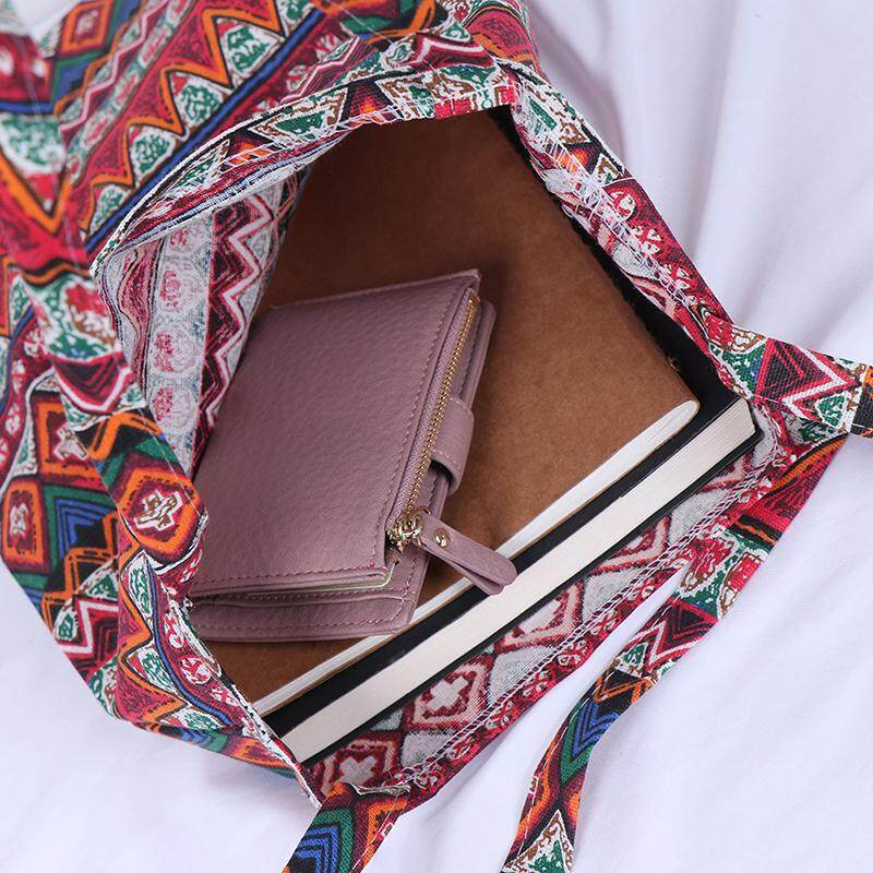 Magical House สไตล์ชาติพันธุ์กระเป๋าผ้าลินินกระเป๋าโท้ทพับได้ช้อปปิ้งผ้าใบกลางแจ้งกระเป๋าสะพายไหล่ By Magical House.