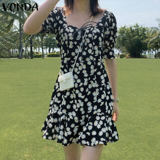 (Phong Cách Hàn Quốc) VONDA Đầm Chữ A In Hoa Tay Phồng Cho Nữ Bãi Biển Thống Dresse thumbnail