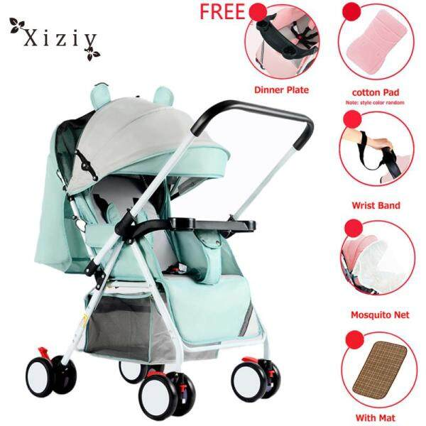 Xiziy Portable Folding Outdoor Double Way Lying Sitting Stroller with 4 Wheels for Kids Infant Baby Singapore