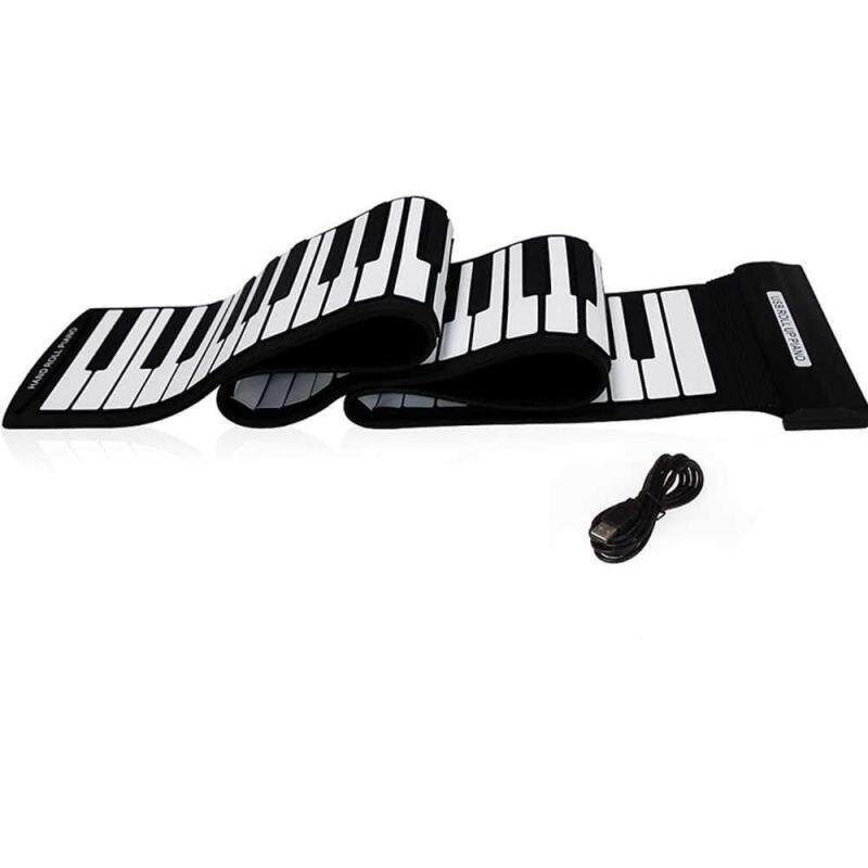 USB MIDI Roll up Electronic Piano Keyboard Silicone Flexible Professional (black&white) Malaysia