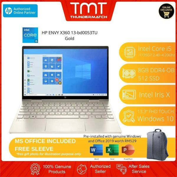 HP ENVY X360 13-bd0053TU Laptop (2K0A0PA) | i5-1135G7 | 8GB-OB 512GB SSD | 13.3 FHD Touch | W10 | MS OFFICE + BAG Malaysia