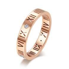 Thời trang nam nữ kim cương giả Rỗng ra số la mã thép titan vòng nhẫn đôi nhẫn cặp