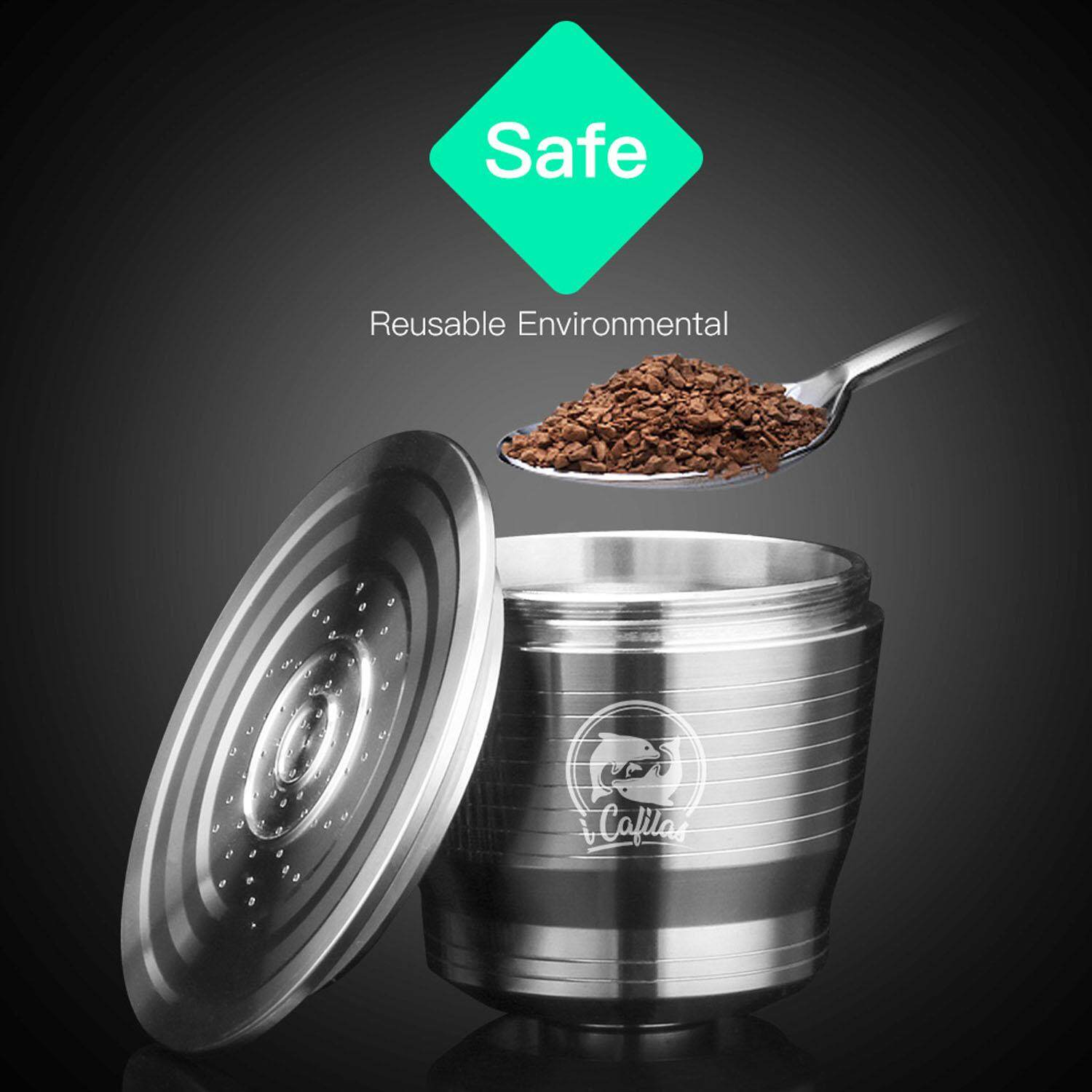 Stainless Steel Metal Refillable Reusable Coffee Filter Capsule Cup Compatible With Nespresso Machine By Duha.