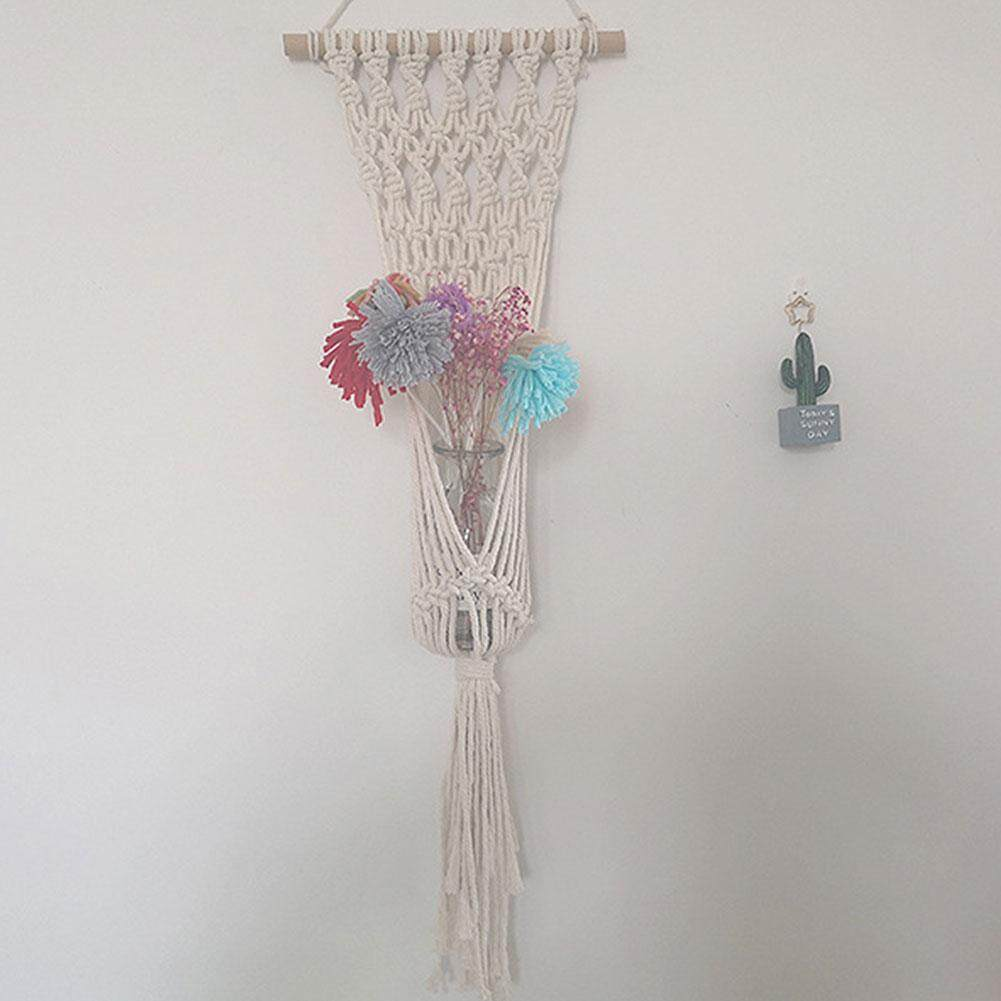 Knitted Tapestry Wall Hanging Bohemian Tapestry Tree with Hanging Small Flower Pot Home Decor