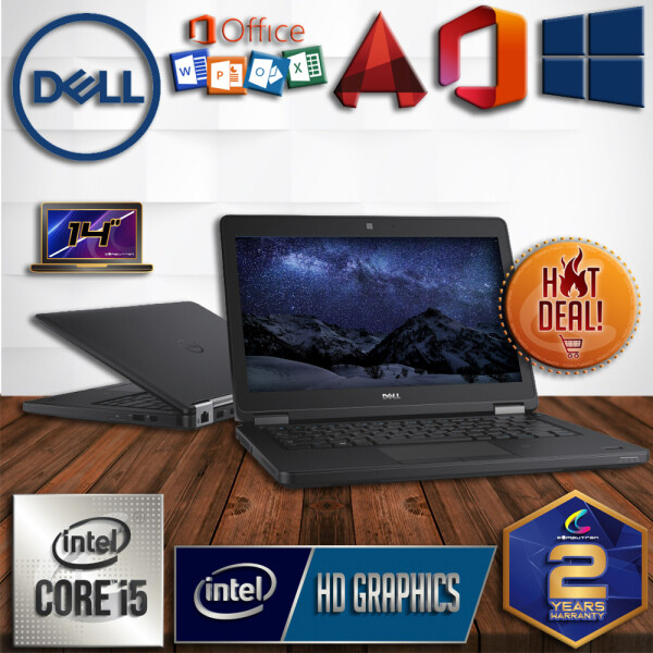 DELL LATITUDE E5450 SLIM DESIGN - INTEL CORE I5 / 8GB DDR3 RAM / 256GB SSD STORAGE / 14 INCH / 2 YEAR WARRANTY / PROFESSIONAL LAPTOP / BUSINES LAPTOP / STUDENT LAPTOP [ LAPTOP ] Malaysia
