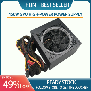 RGB Mute Power Supply Rated 450W Supporting Game Graphics Cards With CPU Multithreading Performance Silent PWM Fan ATX 12V PSU Power Supply for PC Supports Intel & AMD Desktop Gaming Case Computer Power thumbnail