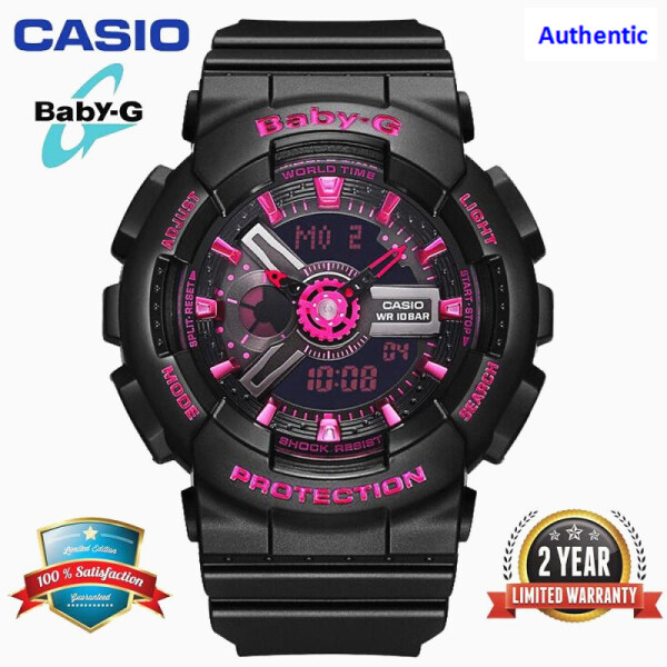 (In stock) Original Baby G BA110 Women Sport Watch Dual Time Display 200M Water Resistant Shockproof and Waterproof World Time LED Light Girl Sports Wrist Watches with 2 Year Warranty BA-110-1A Black Purple (Ready Stock)20202020 Malaysia