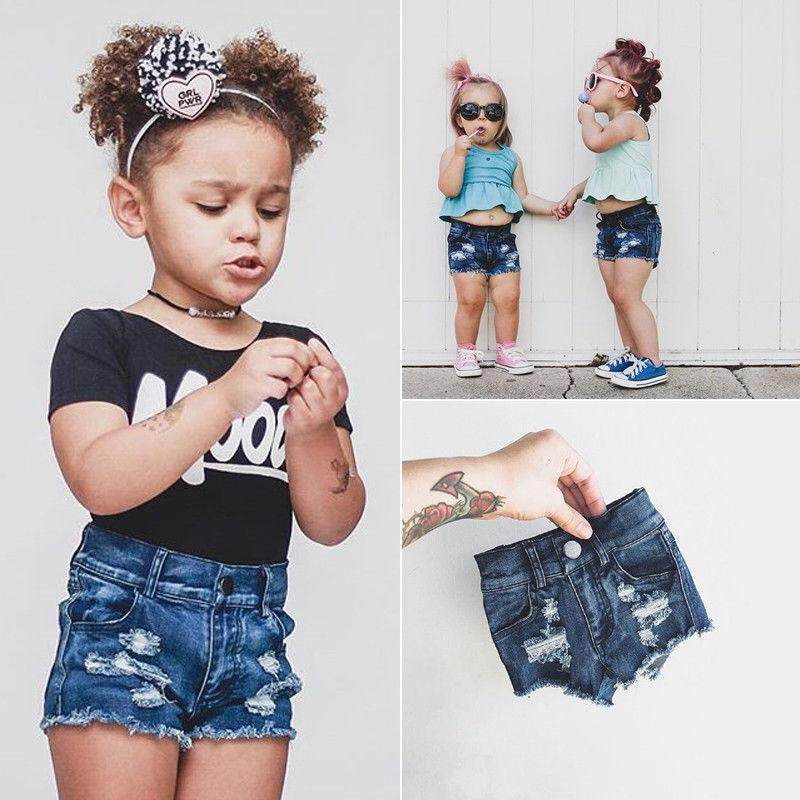 a2f39503337 Summer Toddler Kids Baby Girl Holes Shorts Denim Jeans Stretch Ripped Hot  Pants