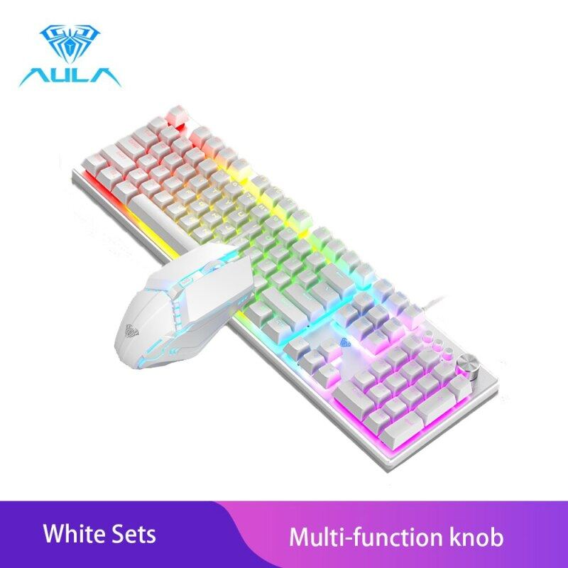 Allmax AULA T200 Wired Gaming Keyboard Mouse Combos 104 keys Multimedia Knob Mix Backlight Keyboard Gaming Set For Notebook Desktop Singapore