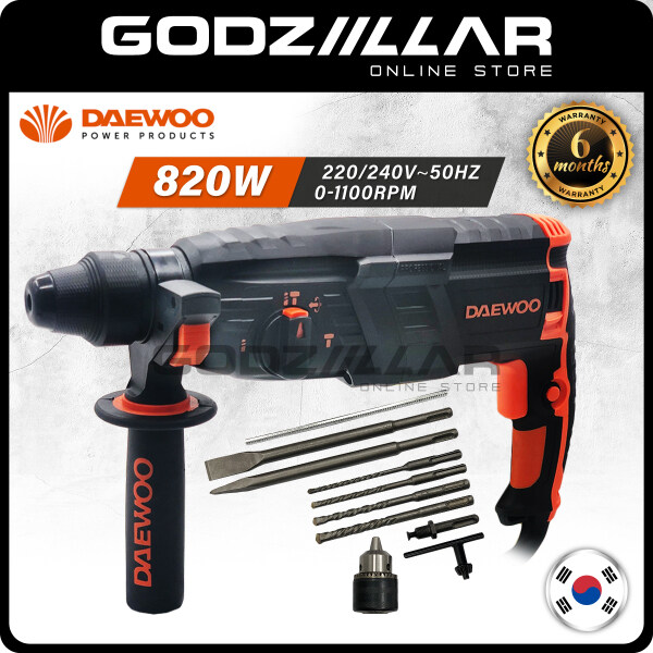 DAEWOO 850W 4 IN 1 Rotary Hammer DARH-26SRE 4 Functions Free 8pcs Accessories
