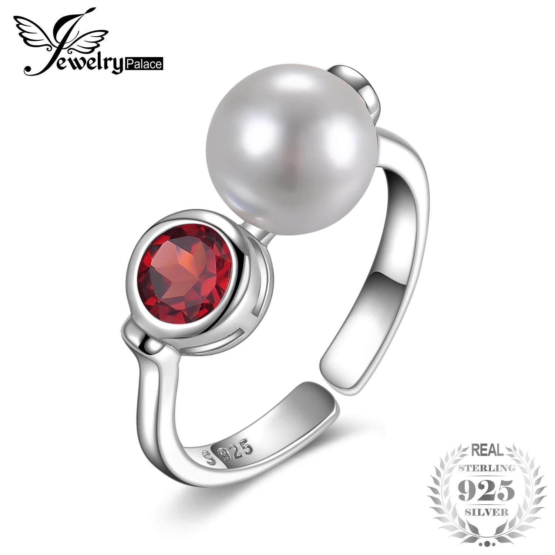 7cff4de37 JewelryPalace Art Deco Genuine Bazel Set Red Garnet 8mm Round Shape Shell  Pearl Adjustable Open Ring
