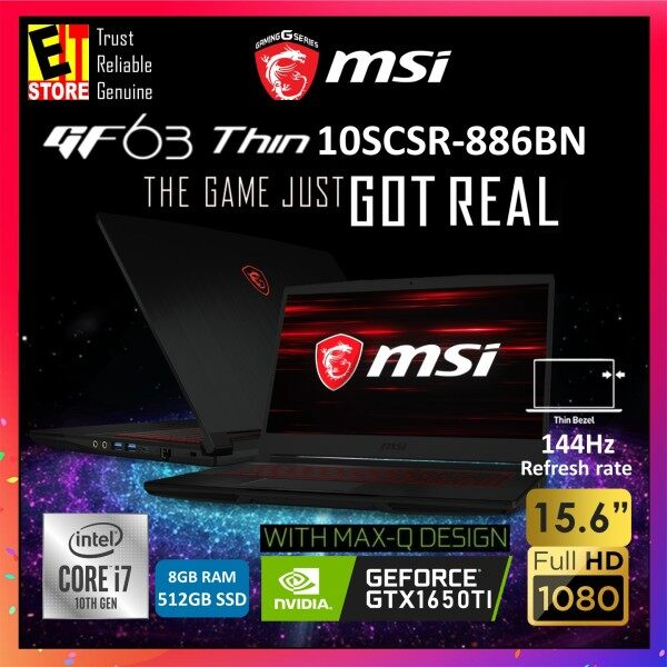 MSI GF63 THIN 10SCSR-886 GAMING LAPTOP ( i7-10750H+HM470/8GB/512GB SSD/15.6 FHD/4GB GTX1650 TI MAXQ/W10/2YRS) + BACKPACK Malaysia
