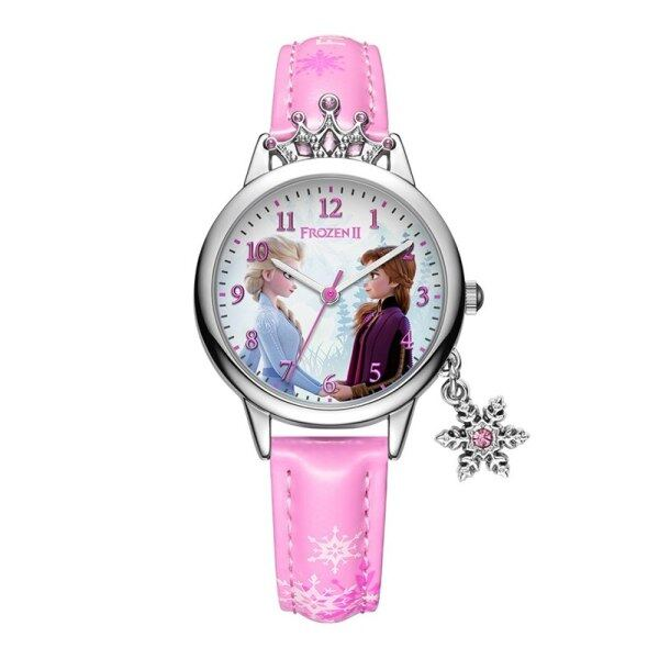 Frozen ⅱ Princess Series Elsa Luxury Bling Rhinestone Crown Snowflake Pendant Beautiful Girls Watches Children Watch New Malaysia