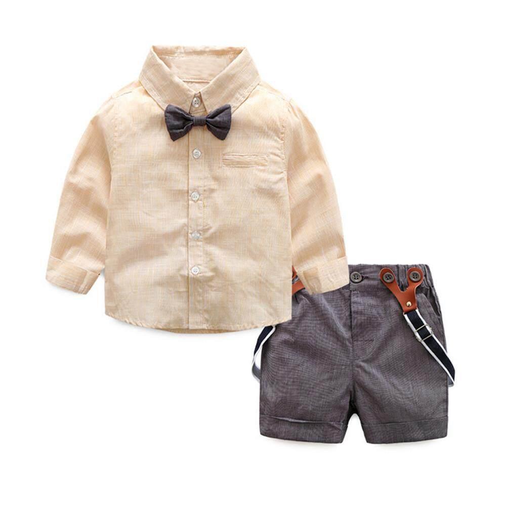 c484ae767b7 ViviMall Infant Baby Boy Gentleman Suit Bow Tie Shirt Suspenders Shorts Pants  Outfit Set