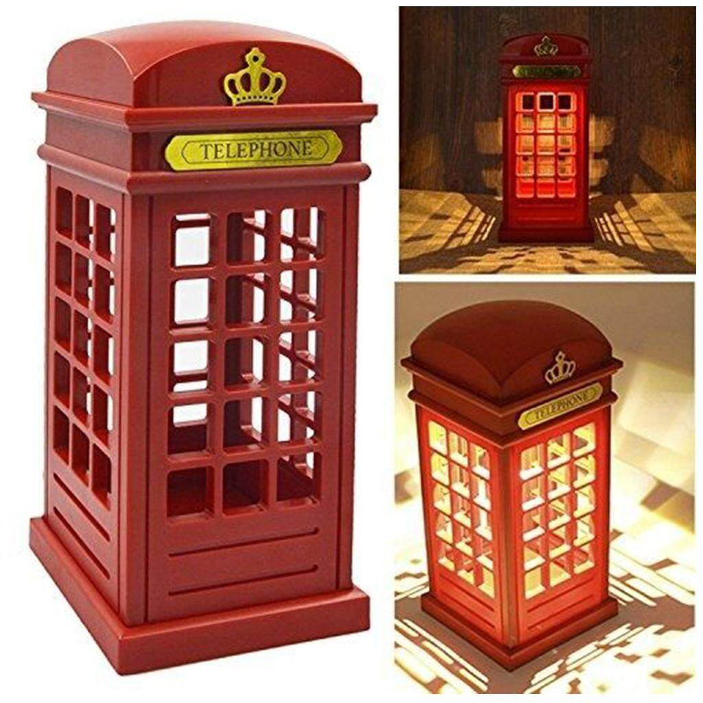 Perfk LED Night Light Vintage Telephone Booth Touch Sensor Desk Lamp USB/Battery Operated