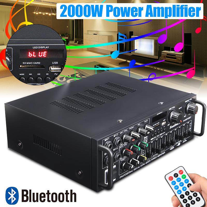 【Free Shipping + Flash Deal】2000W bluetooth 2.0 Channel Audio Power HiFi Amplifier Stereo 326BT 12V/220V AV Amp Speaker Support 4 Microphone with Remote