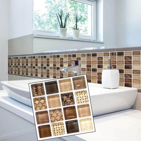 Toolstar 18pcs Simulation Mosaic Tile Wall Stickers Home Decoration 10x10cm Waterproof