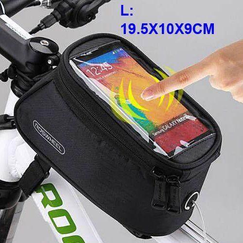 จักรยานขี่จักรยาน Touchscreen กระเป๋าบรรจุ/ท่อเฟรม Panniers กระเป๋า/กันน้ำ/จักรจักรยาน Touchscreen 5.5 นิ้วโทรศัพท์เคสซิป (สีดำ) By Trait Shopping Mall.