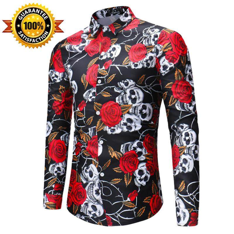 3e094733668c QQ New Men's Casual Fashion Rose Printed Long-sleeve Shirt【READY STOCK -  High