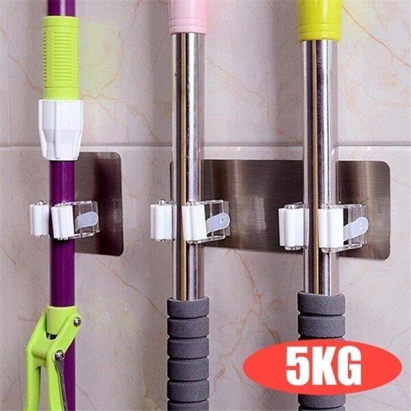 Wall Mounted Mop Organizer 2Pcs Holder Rack Self Sticking Brush Broom Hanger Hook Kitchen Bathroom Mops Storage Racks  9X9cm / 20X7.5cm