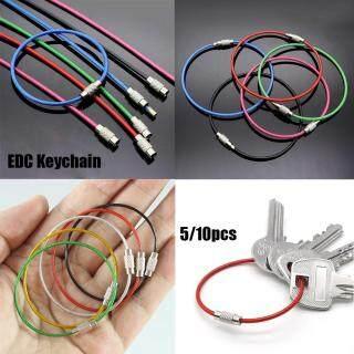 5 10 Chiếc Chìa Khóa Dây Cáp Kiểu Đi Bộ Đường Dài Dụng Cụ Ngoài Trời Móc Khóa Dây Móc Đa Năng Bằng Thép Không Gỉ Móc Khóa EDC thumbnail