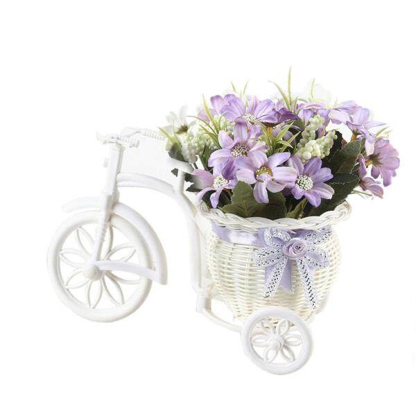 Laputa 1Pc Artificial Flower Rattan Basket Tricycle Desktop Store Showcase Party Decor
