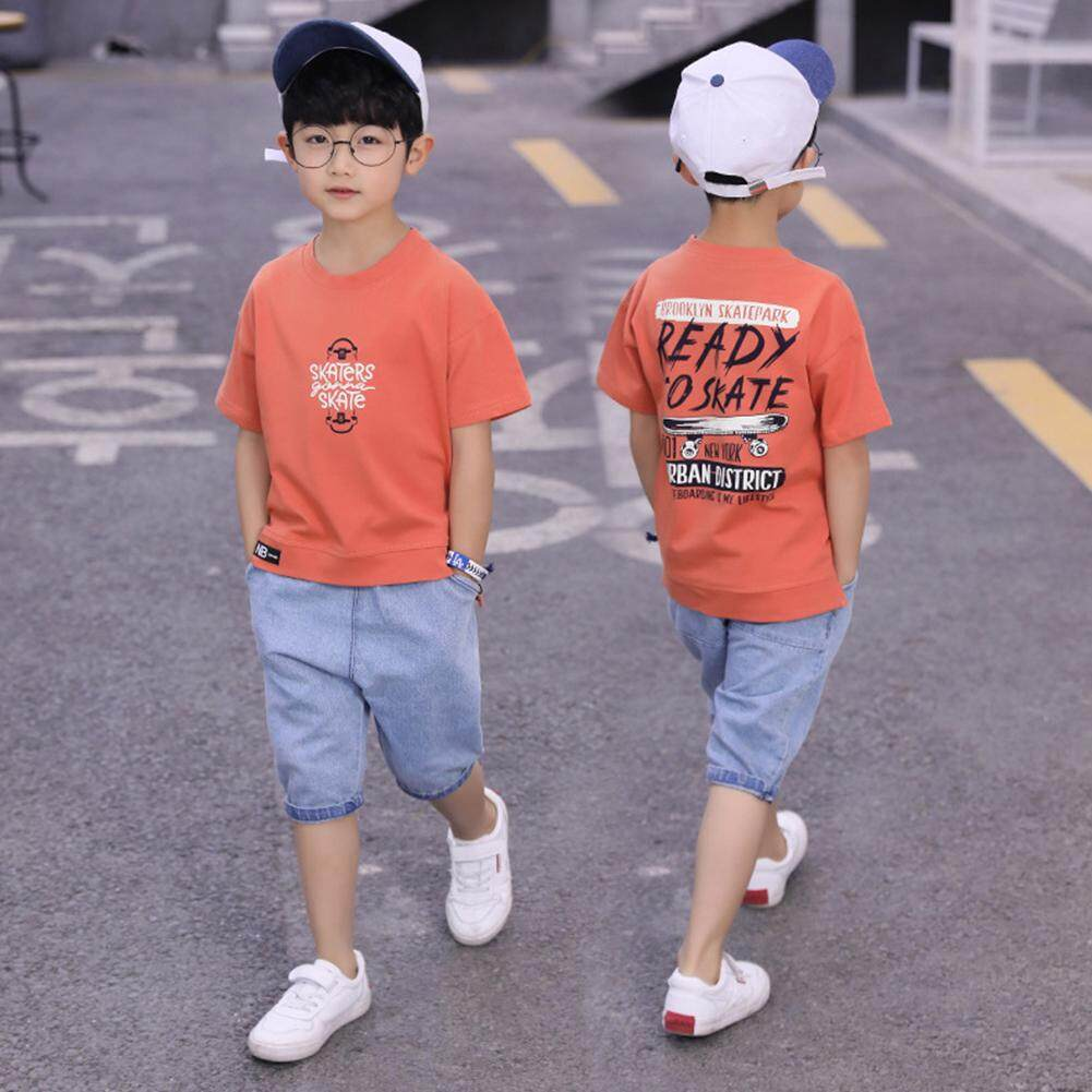 Xt 2pcs/set Children Casual Jeans Short Sleeve Thin Breathable Suit By Xdsb Trade