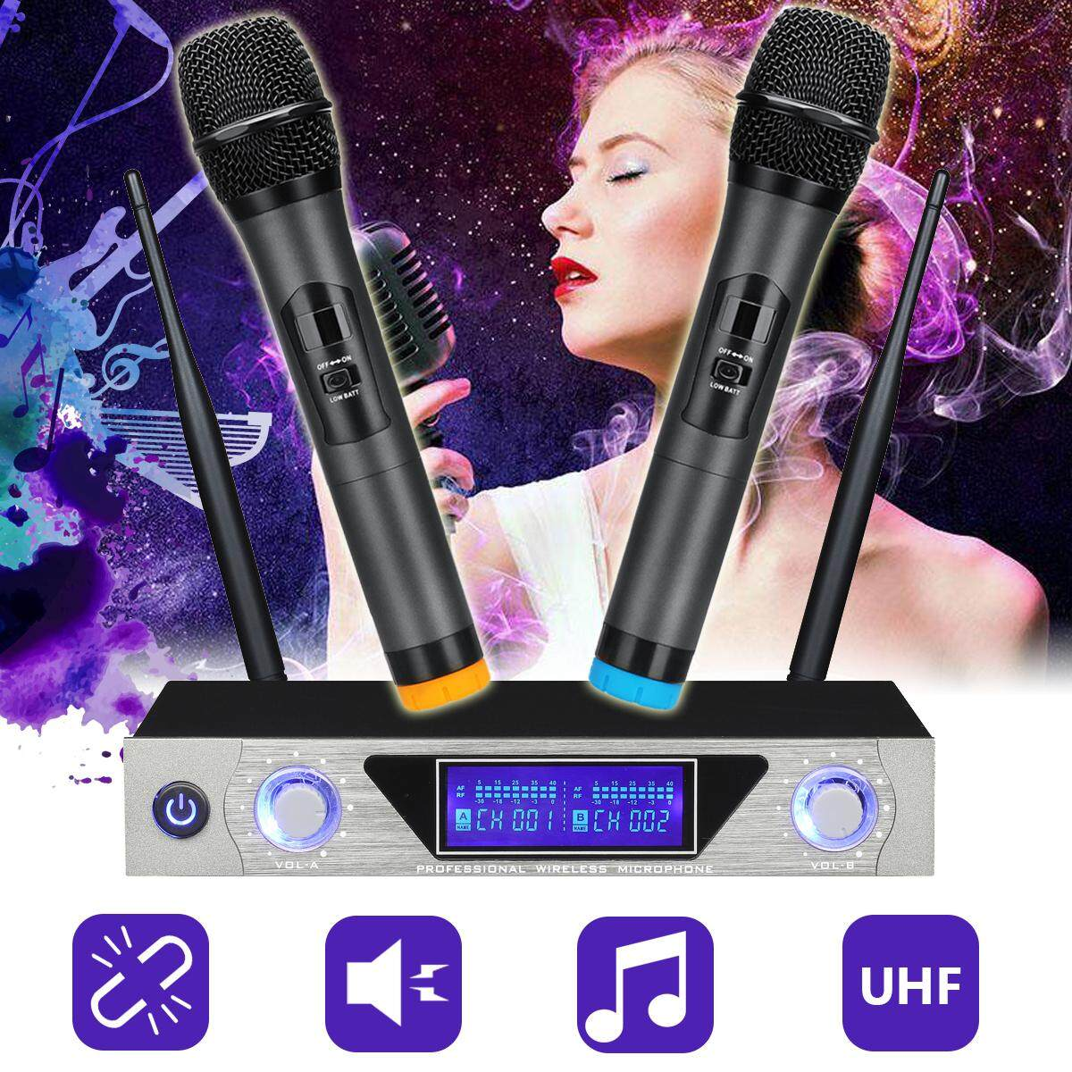Professional Wireless LCD Dual Channel UHF 2 Cordless Microphones System  Handheld 【EU plug】