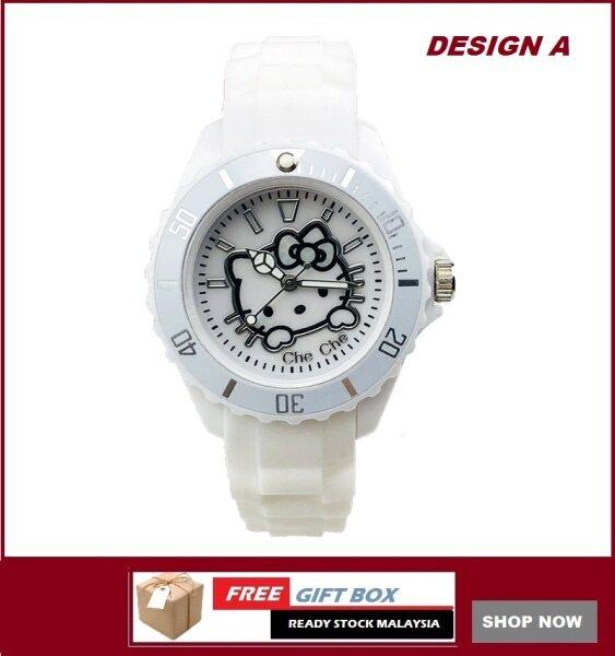 Double55 Jam Tangan Kanak-Kanak Kids Girl Hello Kitty White Series Analog Silicon Strap + Watch Box Best Gift for Kids Jam Tangan Malaysia